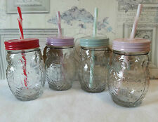 Owl Drinking Jars With Plastic Straw x 4 Party Glass Garden retro summer patio