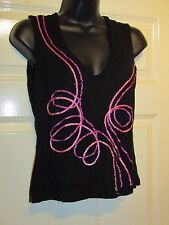 WAREHOUSE BLACK WITH PINK DETAIL TOP - UK Size 12
