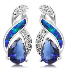 75% OFF HOT 925 Sterling Silver 8 Design Blue Fire Australian Opal Topaz Earring