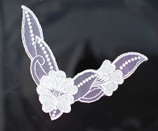 """120 pcs Wholesale White Embroidered Lace Sew-On Appliques Trims  5""""x 5.5""""."""