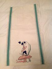 HUGE Vintage Tea Towel w a Gnome on a Mushroom under a flower embroidered SUNDAY