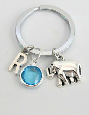 Elephants Keychain,animal keychain,personalized keychain,initial custom keychain