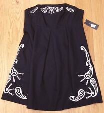 TOMMY HILFGER Size 14 Navy Blue Strapless White Embroirdered Pleated Dress