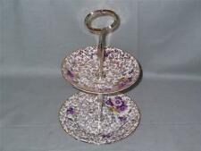Vintage English Bone China Small 2-Tier Biscuit Stand   22KT Gilt with Pansy