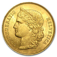 Switzerland 1883-1896 Gold 20 Francs AU AGW .1867