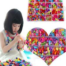 650pcs/Box Kids Crafts Jewelry Set Creative Cute Beads Kit Necklace Bracelet DIY