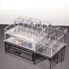 16 Compartment 1 Drawer Cosmetic Organiser Clear Acrylic Make Up Holder Storage