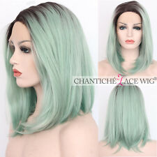 Short Bob Synthetic Hair Lace Front Wig Ombre Green Straight Heat Safe For Party