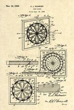Official Vintage Dart Board Patent Art Print - Circa 1935 Antique - 74