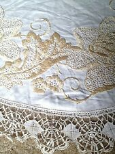 Vintage White Yellow Silk Embroidered Crochet Lace round Tablecloth 38""
