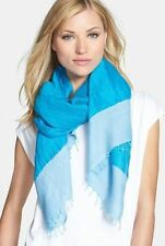 Eileen Fisher Atlantis Blue Handloomed Color Tipped Linen Gauze Cotton Scarf