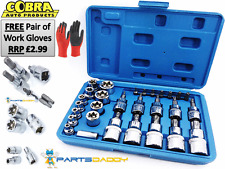 Male Female Torx Star Socket & Bit Set/ 30pcs E & T Sockets with Torx Bits 6-19
