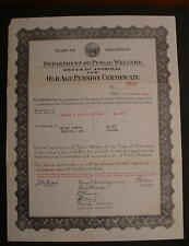 1936 Old Age Pension Certificate-Arkansas-Wiley Downs