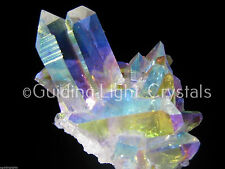 ONE POWERFUL & RARE ANGEL AURA LEMURIAN SEED QUARTZ CRYSTAL POINT CLUSTER! SM