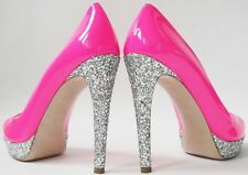 MIU MIU SZ UK7 EU40 US10 NEON PINK PATENT LEATHER GLITTER PLATFORM HEELS SHOES