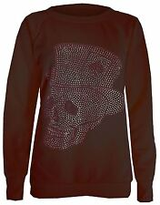 New Womens Long Sleeve Studded Sequin Sweat Shirt Jumper Tops 8-14