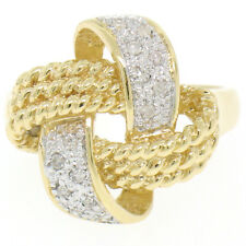 14k Solid Yellow Gold 0.14ctw Round Pave Set Diamond Twisted Wire Rope Knot Ring