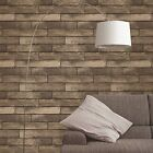 BROWN WOODEN PLANK EFFECT WALLPAPER - FINE DECOR FD31289 FEATURE WALL