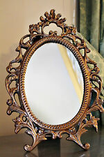 Ornate French Dressing Table Rose Gold Standing Baroque Mirror on Stand Copper