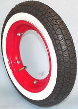 COMPLETE WHEEL VESPA SCOOTER PK 50 WHITE WALL TYRES 3.00-10 50 J RIM RED
