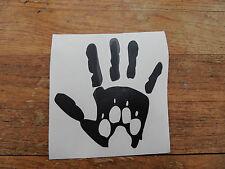 """""""mano con Paw Print"""" Logo Paraurti Adesivo / decalcomania / Veicoli / animali domestici / Cani"""