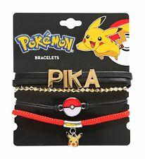 Pokemon PIKACHU PIKA WRAP & CORD BRACELET SET Poke Ball Charm NEW