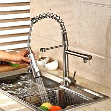 Brushed Nickel Pull Out Spray Spout Kitchen Faucet Sink Mixer  Tap