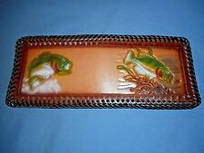 Hand-Tooled Men's Leather Bi-Fold Wallet 2 Bass Fish Brown Lacing & Inside