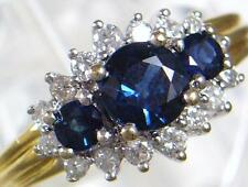 Vintage 18ct Gold 1.0 ct 3 Sapphire & .56 ct 16 Diamond Ring 1989 U.K size N 1/2
