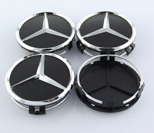 MERCEDES SET OF 4 BLACK CENTER WHEEL HUB CAPS 75MM COVER CHROME EMBLEM CAP LOGO