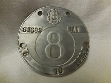 WWII ORIGINAL Carriage Tax Tag Plate MI(MILANO-ITALY)  OCT. 8th 1942