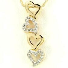 Natural 28 Diamond 9ct 375 Solid Gold Heart Pendant - Bravo Jewellery