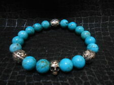 Turquoise Day of the Dead Skull Bracelet Baby Chrome King