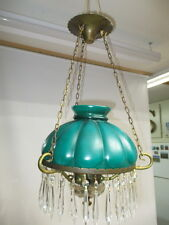 "c1950s MELON SHAPED GLASS 10"" SHADE CRYSTAL PRISMS HANGING LIGHT FIXTURE LAMP"