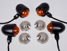 4~Black/Amber Panhead Turn Signals for Harley Bobber Custom Chopper Cafe Cruiser