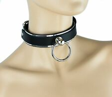 Metal Plate O ring Bondage Leather Choker Punk Goth Fetish Alternative Collar