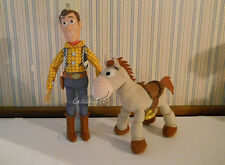 "Toy Story TALKING sheriff Woody 15"" & his plush posable horse Bullseye lot of 2"