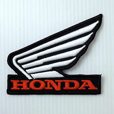 1P. WHT HONDA WING EMBROIDERED IRON ON PATCH BADGE MOTOR BIKE SUPER CROSS SPORTS
