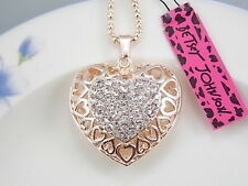 Betsey Johnson cute inlaid Crystal hollow love heart pendant necklace # F207