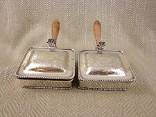 2 VINTAGE SILVER PLATED TRINKET BOX LIDDED TABLE SNUFF WARMING PAN SERVING BOWL