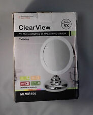 "Meridian Lighting Clearview 5"" LED Illuminated 5X Magnifying Mirror  - CLEARANCE"