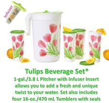 Tupperware Tulips Beverage Set 1 Gallon Pitcher /w Infuser 16 oz Tumblers