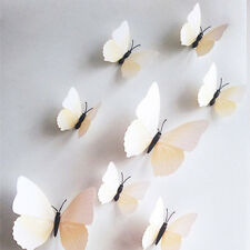 White Color 12pcs DIY 3D Butterfly Wall Sticker Decal Home Decor Room Decoration