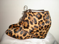Italy True Christian Louboutin Lady Pony Hair Short Boots Shoes Leopard Print 38