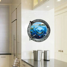 Underwater World 3D Window Removable Wall Art Stickers Vinyl Decals Home Decor