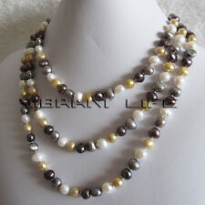 "58"" 7-9mm Multi Color Baroque Freshwater Pearl Necklace M2 WCGP Jewelry UK"