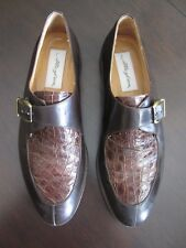 Mezlan Genuine Crocodile Men Shoes Monk Strap  Retail $495.00