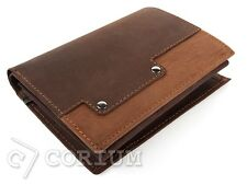 Luxury Mens Brown Leather Bifold Wallet Credit Card Holder