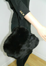 GENUINE SHEARED BLACK FOX FUR MUFF HANDBAG BIG SIZE n.68