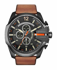 DZ4343 Diesel Mega Cheif Brown Leather Black Dial Chronograph Watch New in Box